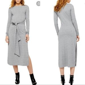 Topshop Tie Waist Long Sleeve Knit Midi Dress US 2
